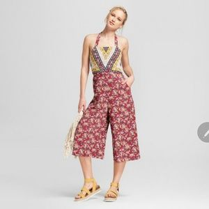 Women's Floral Print Halter Top Overall Jumpsuit -